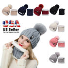 Women Winter Knit Hat Scarf Set Warm Skull Neck Cover Thick Cuff Beanie Cap Ski