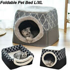 US Warm Soft Foldable Dog Cat House Nest Removable Puppy Cave Bed Pad Pet Kennel