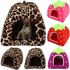 House Soft Strawberry Pet Dog Fleece Washable Igloo Bed Pyramid Cosy Cozy Kennel