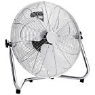 Chrome Floor Fan High Speed 3 Setting Adjustable Metal Air Circulator Cooling