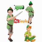 Peter Pan Costume for Kids Halloween Outfit with Hat and Sword
