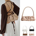 Small Ruched Real Leather Shoulder Bag Baguette Clutch Purse Retro Top Handle