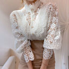 Lady Lace Floral Hollow Out Shirt Blouse Tops Long Puff Sleeve Loose Button Chic