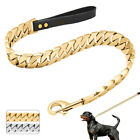 Silver Gold Metal Dog Leash with Leather Handle Strong 18K Dog Chain Cuban Link
