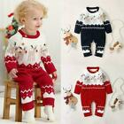 Baby Infant Boys Girls Christmas Elk knitted Sweater Jumpsuit Outfit Romper K8N3