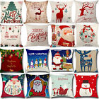 Christmas Cushion Cover Pillow Case Linen Sofa Throw Home Xmas Decor 18x18 in