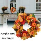 Halloween Fall Door Pumpkin Wreath Autumn Maple Leaf Hot Sale Garland Decor C4F9