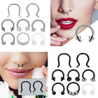 8PCS Surgical Steel Septum Clicker Retainer Nose Hoop Horseshoe Rings Earrings