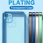 For iPhone 12 Pro Max 11 X XS XR 7 8 Luxury Plating Bumper Clear Soft Case Cover