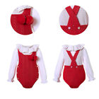 Toddler Baby Girl Red Sweater Romper Formal Party Outfits Christmas Clothing US