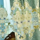 Chenille Blackout Curtain for Living Room Embroidery Drape Sheer Tulle Panel Sew