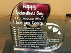 ❤️ Love Valentines Day Gift - Personalised His Her Engraved - Love Heart Glass