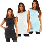 Women Knitted Dress Sleeveless Front Pockets Pleats and Button Tunic Tops