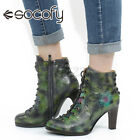 SOCOFY Women Retro Cowhide Leather Chunky Heel Ankle Boots Shoes Flower Printe