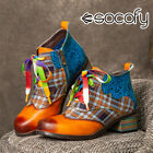 SOCOFY Womens Leather Colorful Splicing Chunky Heel Ankle Boots Lace-up Shoe