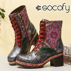 SOCOFY Women Embossed Leather Short Boots Shoes Splicing Warm Lined Chunky Hee
