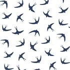Swallows Poplin - Navy on White - 100% Cotton Birds Fabric  Quilting Crafts swal