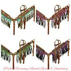 Beaded Inlay with Cross Design Headstall  Ombre Fringe Breast Collar NEW