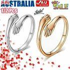 925 Sterling Silver Gold Love Hug Ring Band Open Finger Fully Adjustable Jewelry