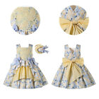 Floral Girl Summer Casual Dresses And Headband Easter Dress 2-12 Years Yellow US