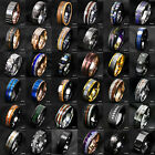 Tungsten Ring & Gold Black Silver Blue Green CZ Mens Wedding Band ATOP Jewelry