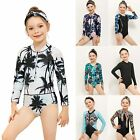 Kid Girls One Piece Swimsuit Long Sleeve Rash Guard Swimwear Bathing Suit Bikini
