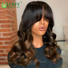 Loose Wave Scalp Top Machine Made Wig With Bangs 1B/4 Ombre Color Human Hair Wig