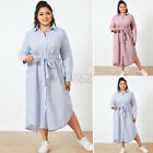 Women Long Sleeve Casual Striped Shirt Dress A-Line Swing Belted Long Maxi Dress