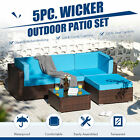 5pc Patio Furniture Set Walnut Wicker Sectional Couch Set & Table Cushions