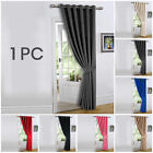 Heavy Thermal Blackout Door Curtains Pair Of Eyelet Ring Top Ready Made Curtain