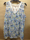 Style & Co Womens Floral Folkloric Crotchet Sleeveless Top