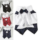 Pet Dog Suits T Shirts Clothing Small Cat Puppy Stripes Wedding Bow Ties Buttons