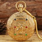 Gold Double Hunter Men Auto Mechanical Copper Pocket Watch FOB Chain Collect