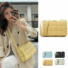 Padded Woven Microfibre Leather Quilted Shoulder Bag Crossbody Purse Flap Clutch