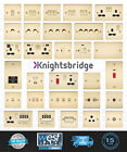 KNIGHTSBRIDGE POLISHED BRASS FLAT PLATE Switches & Sockets BLACK Insert + USB