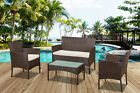 4pc Rattan Garden Patio Furniture Set Outdoor - 2 Chairs 1 Sofa & Coffee Table