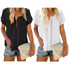 Women V Neck Lace Crochet Button Down Blouse Eyelet Hollow Out Short Sleeve Tops