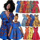 African Mom And Daughter Womens Girls Party Swing Flared Dresses Ankara Design