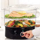 Two Tier Food Steamer, Healthy, Fast Simultaneous Cooking, Stackable Baskets for