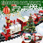 Electric Rail Car Christmas Train Set with Music + Light Kids Toy Gift Funny