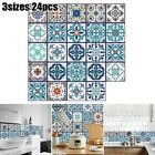 24xretro Mosaic Tiles Ceramic Tile Wall Stickers Home Decor Self-adhesive Supply