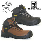 MENS LEATHER WATERPROOF SAFETY BOOTS STEEL TOE CAP HIKING ANKLE WORK SHOES SIZE