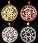 Nonograms Bahai 9 pointed star in Circle Bahá'í/Pagan/Wiccan  Pewter Pendant