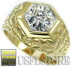 Mens Seven 3MM Simulated Diamond Gold Plated Ring