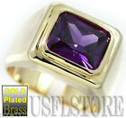 Simulated Amethyst Purple Solitaire 18kt Gold EP Mens Ring