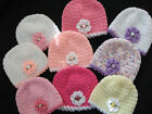 HANDCROCHETED  BABY HAT WITH FLOWER TRIM  0-3 months