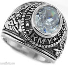 Clear April Stone US Army Military Silver Rhodium EP Mens Ring