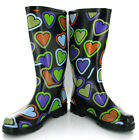 New Womens Love Hearts Wellingtons Boots Wellies 3-8