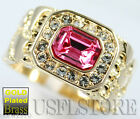 Mens Pink CZ Stones 18kt Gold Plated Ring New