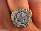 Mens Cross Two Tone 18kt Gold & Rhodium Plated Ring New